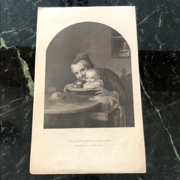 "Vintage Other - GRANDMOTHER'S DARLING 10"" x 6"" - Antique Engraving"